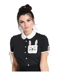 Hell Bunny Miffy Bunny Rabbit Polka Dot Black Blouse