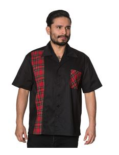 Banned Mens Drop It Black Shirt With One Tartan Panel