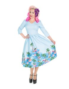 Hearts And Roses 50s Style Playa Flamingo Blue Dress