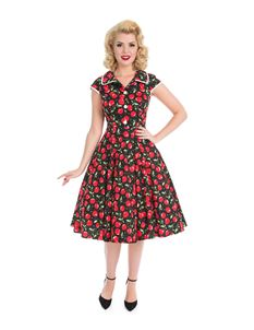 Hearts & Roses 40s 50s Cherry Red Shirtwaister Dress