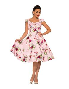 Hearts and Roses Royal Ballet 1950s Dress In Pink