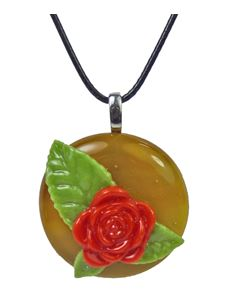 Rowanberry Designs Red & Tan Rose Glass Pendant