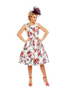 Dolly And Dotty - Annie Retro Roses Floral Swing Dress