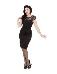 Hearts & Roses Black Mesh Wiggle Dress Pin Up 1950s