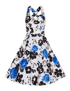 Bettie Vintage White Halterneck Floral Flared Dress