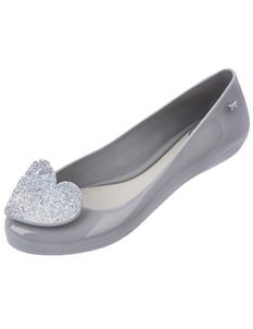 Zaxy Pop Heart Luxe Grey Glittery Heart Flat Shoes