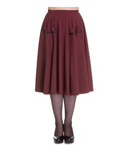 Hell Bunny Ellie May 50s Style Pocket Skirt Burgundy Green