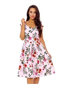 Clarence and Alabama Pink Floral Swing Dress