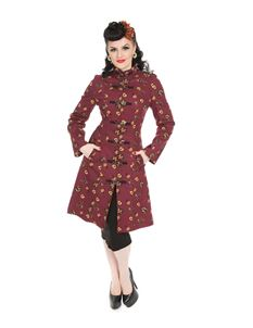 Hearts & Roses 50's Vintage Cat Print Coat