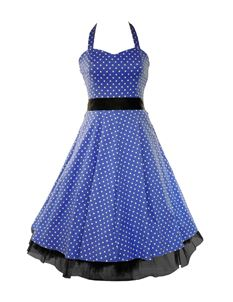 SALE H&R London 50's Small Polka Dot Dress Blue
