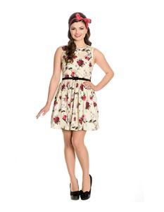 Hell Bunny Cecily Rose Floral Summer Cream Mini Dress
