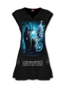 Spiral Direct Cat and Fairy Stud Waist Mini Tunic Dress