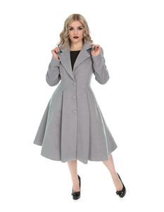Hearts & Roses Grey Lauren Single Breasted Swing Coat
