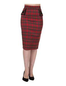 Banned 50s Vintage Style Tartan Wiggle Skirt