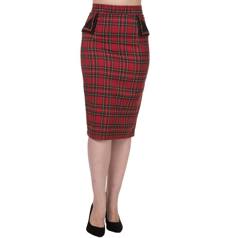 58fc26c0f Tartan Check Wiggle Pencil Skirt By Banned ...