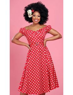 Collectif Dolores 50's Red Polka Doll Dress