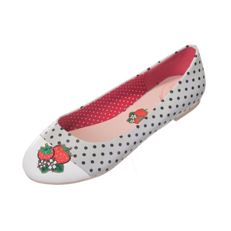 Dancing Days Isabella Polka Strawberry Pump Flat Shoes