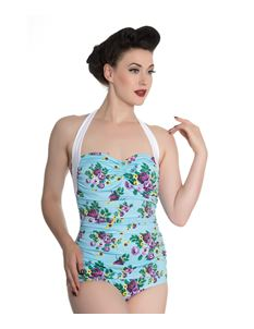 Hell Bunny 50's May Day Aqua Blue Floral Swimsuit