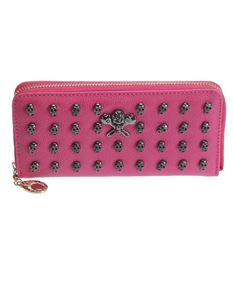 Poisoned Skull Monger Stud Faux Leather Purse Wallet