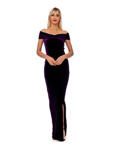 Bettie Vintage Classy Velvet Maxi Dress In Purple