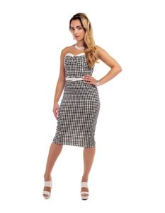 Collectif Monica Gingham Pencil Wiggle Dress
