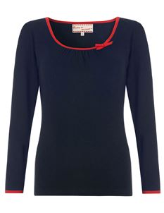 Friday On My Mind 3/4 Sleeve Plain Jersey Navy Top