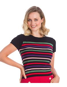 Banned Retro Memory Lane Striped Knit Jumper Top