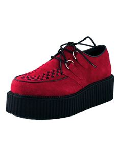 T.U.K. TUK Unisex Mondo Hi Sole Suede Creeper Shoes Red