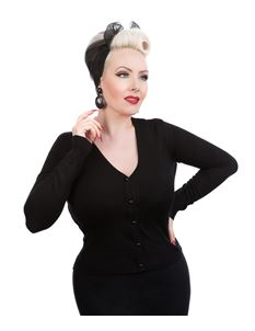 Hearts & Roses Black Rockabilly 50s Style Cardigan