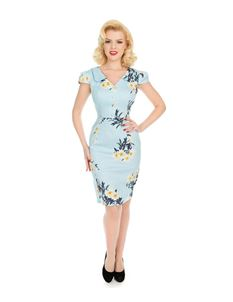 Hearts & Roses Vintage Blue White Floral Wiggle Dress