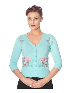 Dancing Days Face to Face Flamingo Cropped Cardigan
