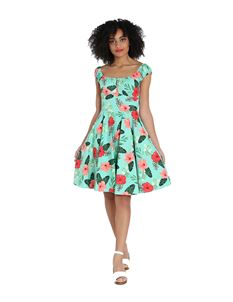 Hell Bunny Moana Hawaiian Floral Hibiscus Mid Dress