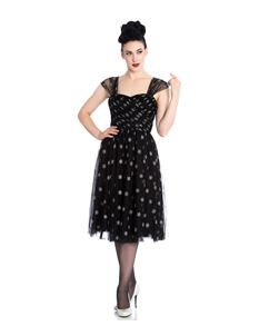 Hell Bunny Snowstar Dress Black With Silver Snowflakes