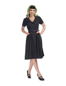 Collectif 40s 50s Brette Black Polka Dot Swing Dress