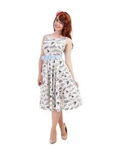 Collectif Kitty 50s Car Print Ivory Blue Swing Dress