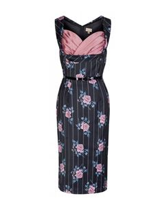 Lindy Bop 50s Vanessa Satin Pinstripe Floral Wiggle Pencil Dress Black
