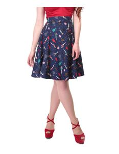 Collectif Navy Blue 50s Jive Lindy Bop Tammy Paper Pin-Up Doll Skirt