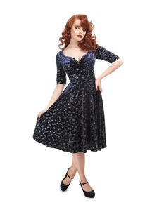 Collectif Trixie Velvet Spark Vintage Style 50s Dress