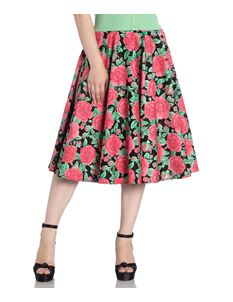 Hell Bunny Darcy Rose Floral 50s Style Circular Skirt