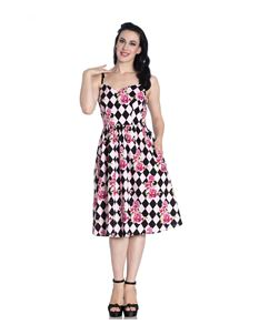 Hell Bunny Harlequin Floral 50s Style Summer Pink Dress
