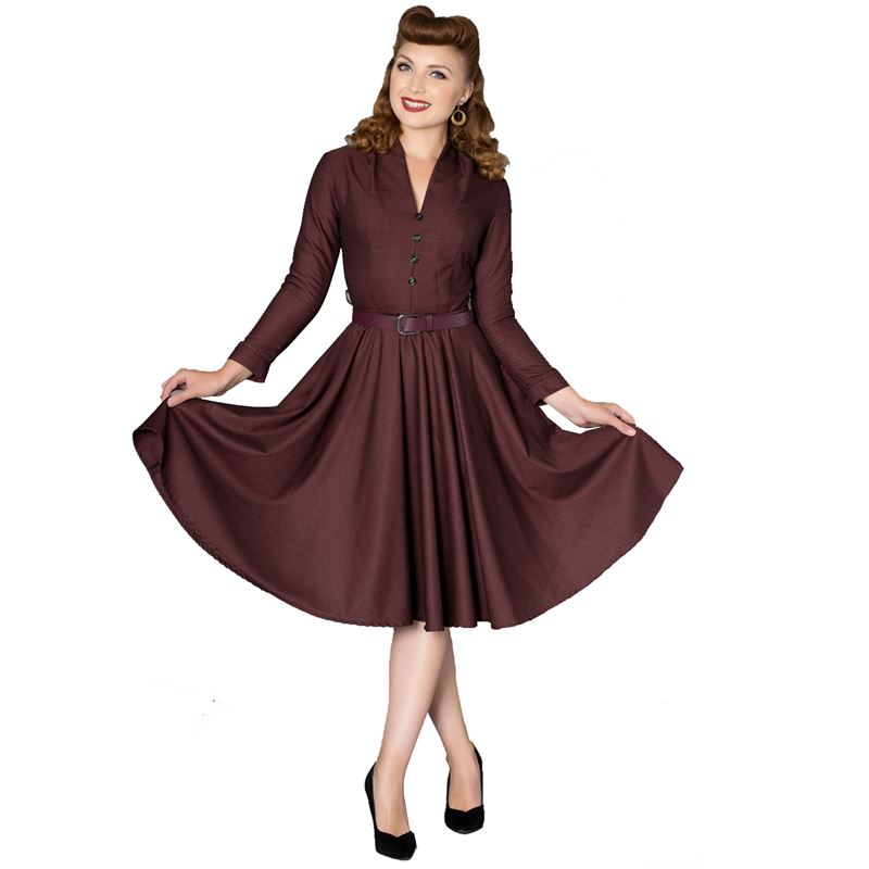 Sheen Helena 1940s Tea Swing Dress With Sleeves