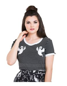 Hell Bunny Casper Ghost Spooky Halloween Striped Top