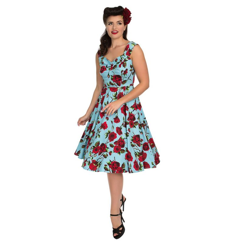 Hearts & Roses 50s Ditsy Rose Floral Summer Blue Dress