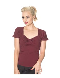 Dancing Days She Who Dares 50s Style Top In Burgundy