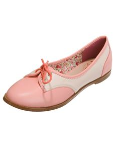 Dancing Days 40's Kendra Swing Lindy Hop Flat Shoes Pink/Cream