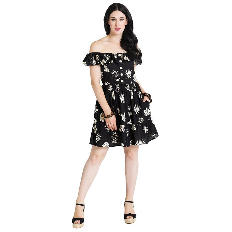 Hell Bunny Pineapple Gypsy Off Shoulder Mini Dress