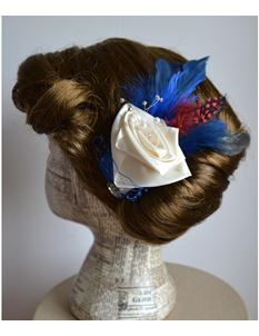 Doll's Mad Hattery Flapper Flo Blue - Rose Hair Clip