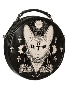 Banned Bastet Sphynx Cat Round Bag Alternative Handbag Black/Cream