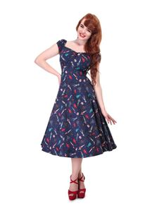 Collectif Dolores 50s Style Blue Paper Pin-up Doll Dress