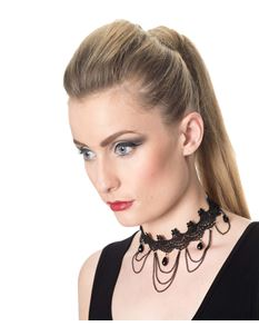 Banned Jade Alternative Style Lace Jewel Choker